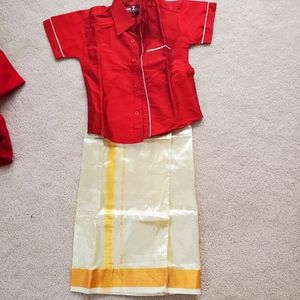 Brand New. Boys Indian dress/lungi and shirt set